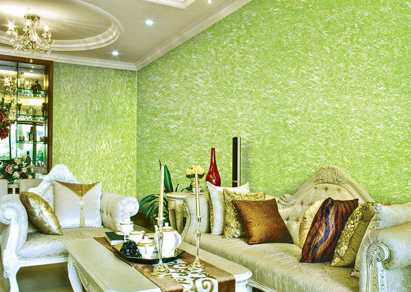 Красивый интерьер зала в необычном салатовом цвете