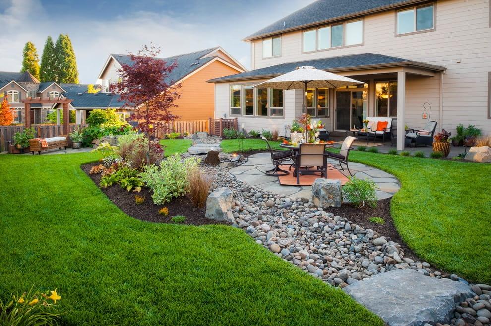 Красивый двор частного дома с идеально спланированными зонами