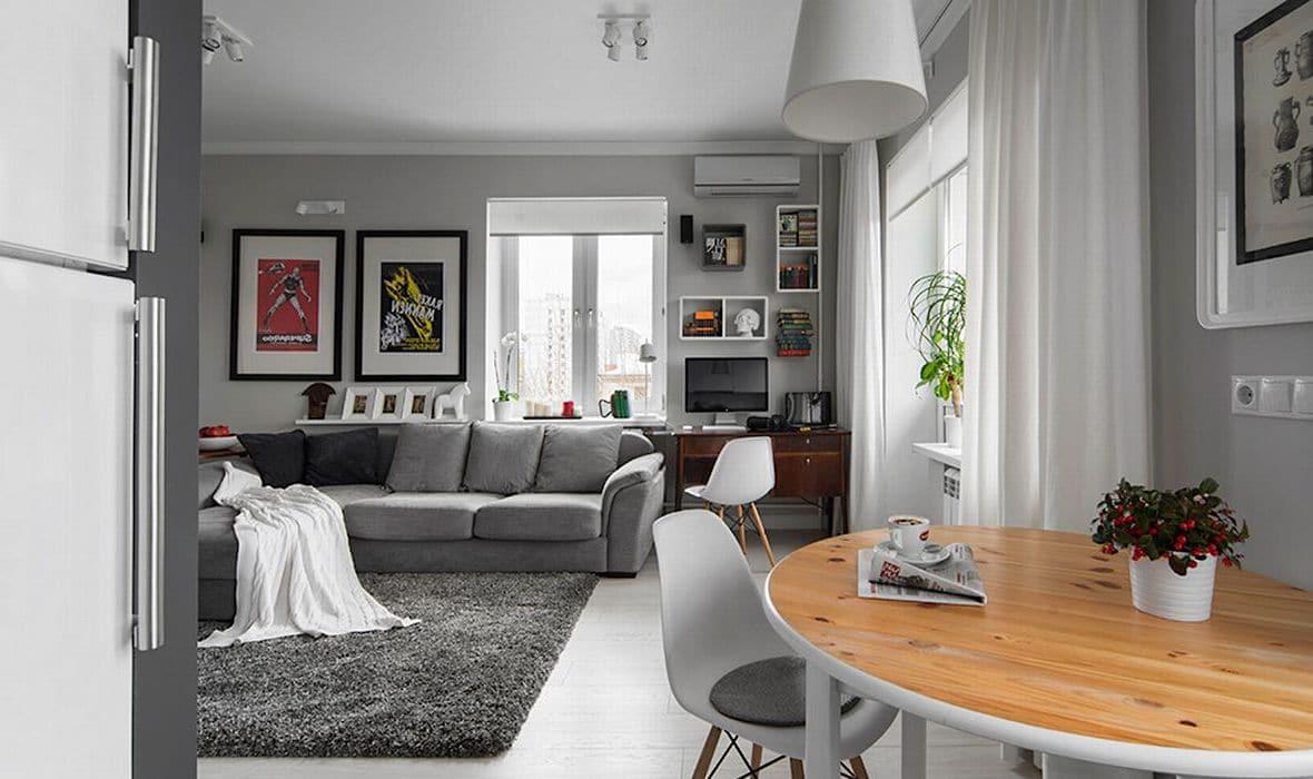 """Серый цвет и его разнообразные оттенки отлично подойдут для оформления стильного интерьера студии """"эконом-класса"""""""