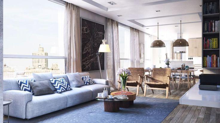Декоративное дополнение интерьера с ярким принтом акцентирует внимание