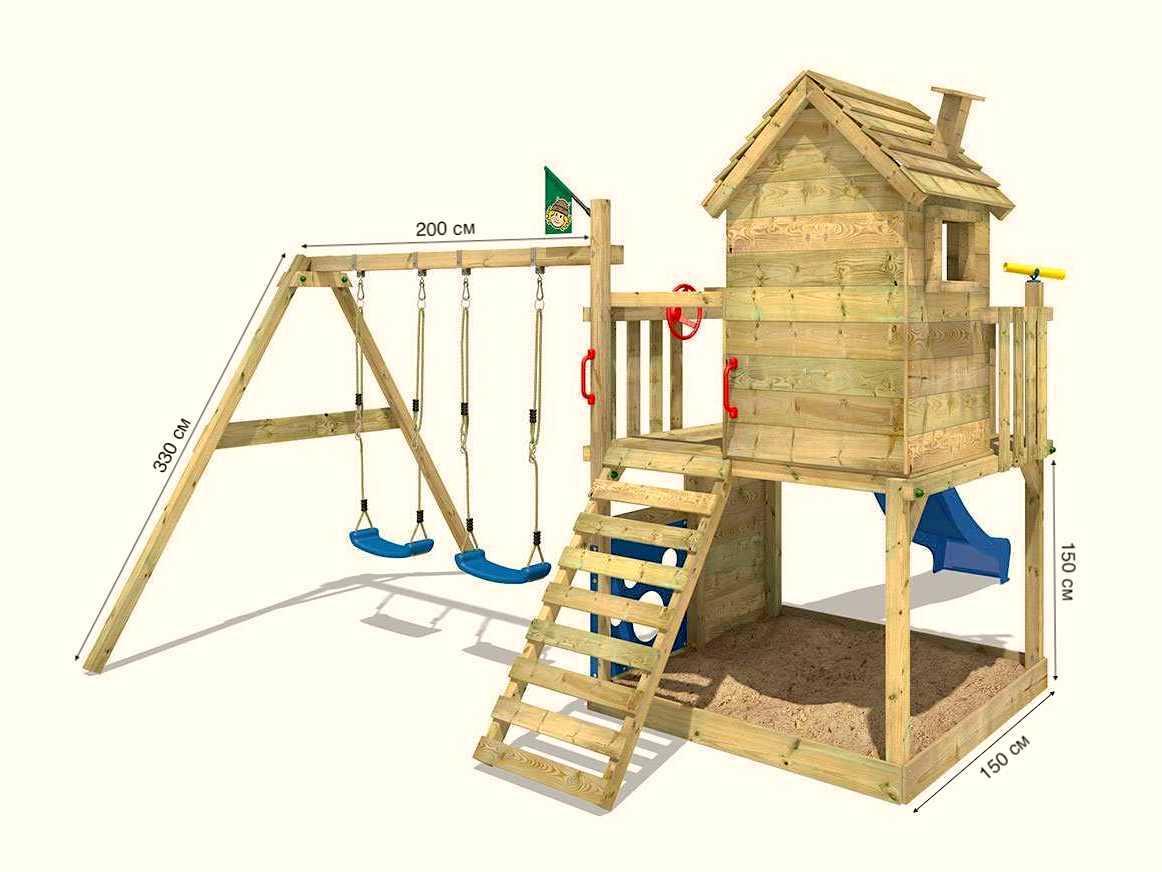 Проект детской площадки с песочницей и качелями