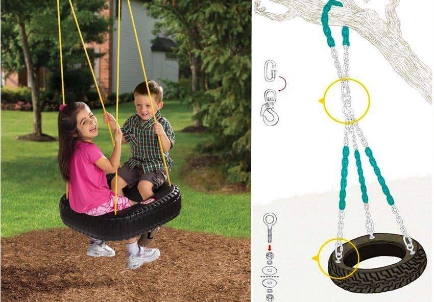 Чтобы сделать подвесные качели из шины можно использовать как цепь, так и крепкую веревку