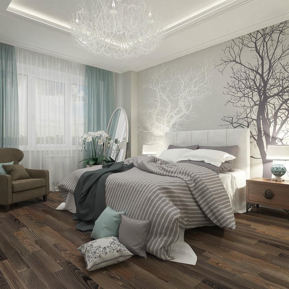 Фактура напольного покрытия становится четко выраженной благодаря светлым стенам