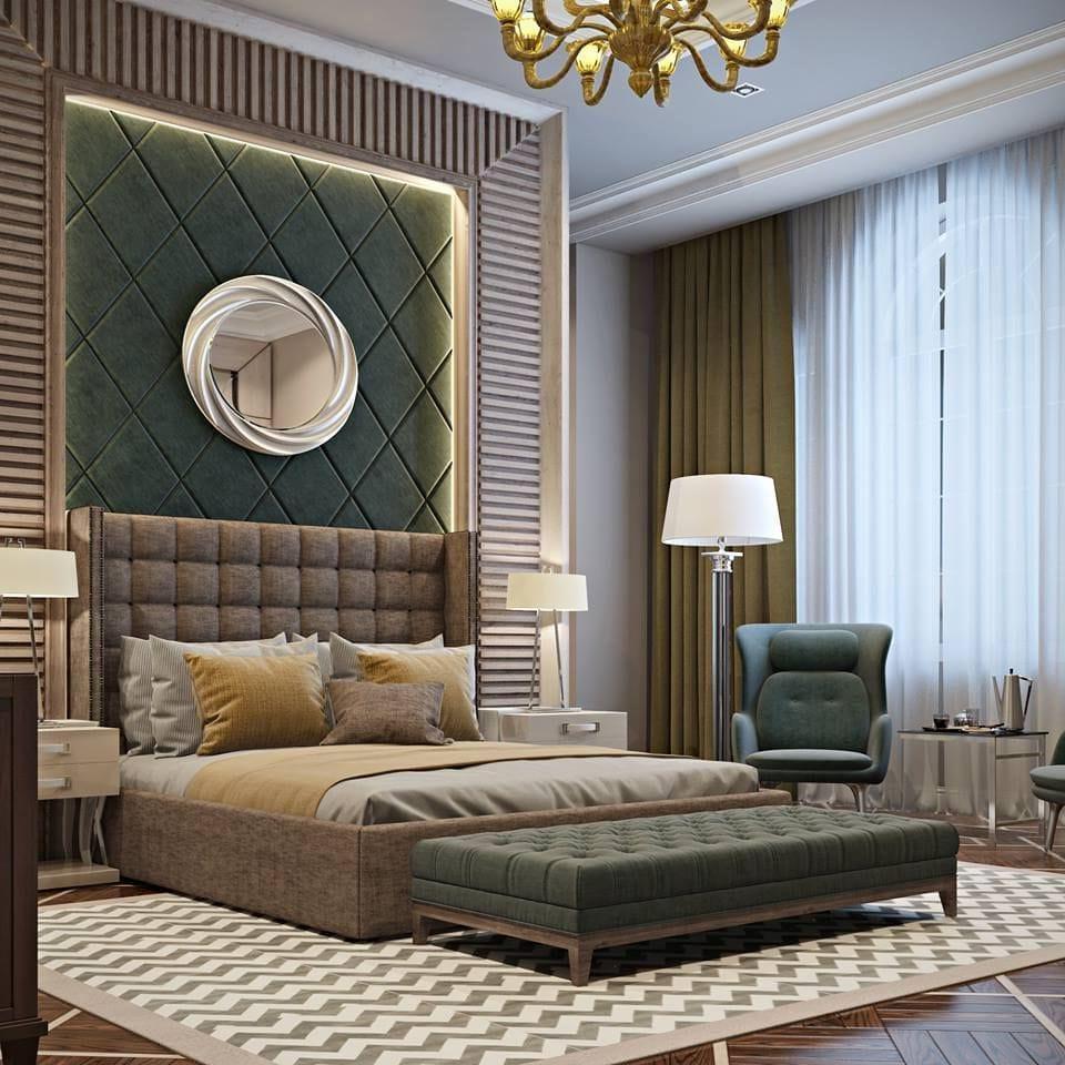 Роскошный интерьер спальни в приглушенных тонах