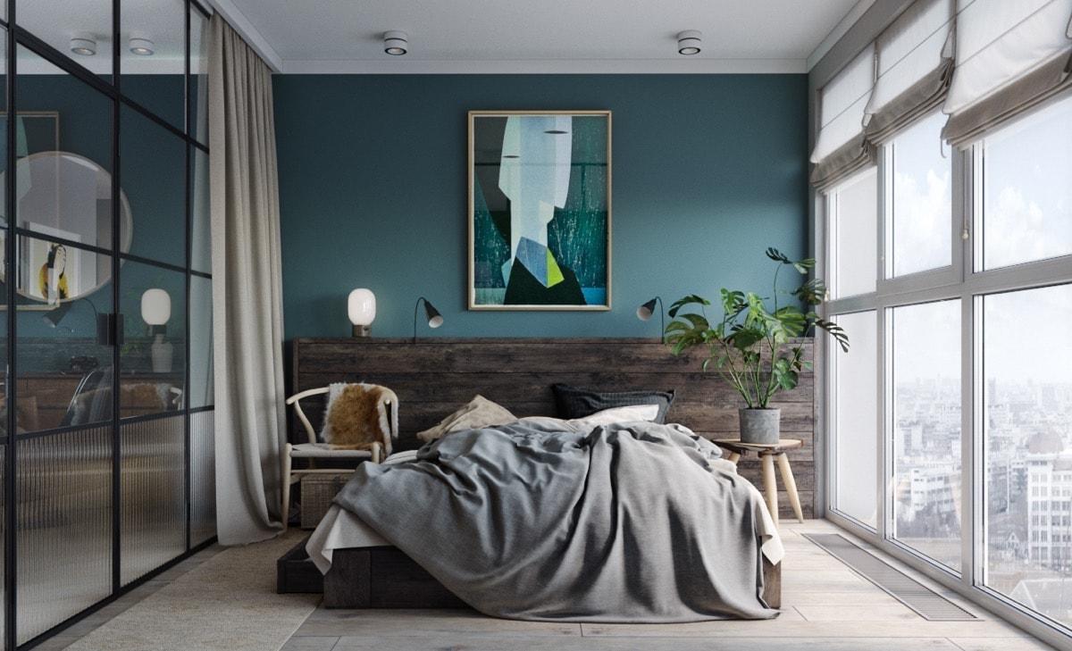 Расположение кровати у окна для любителей наслаждаться за суетой города