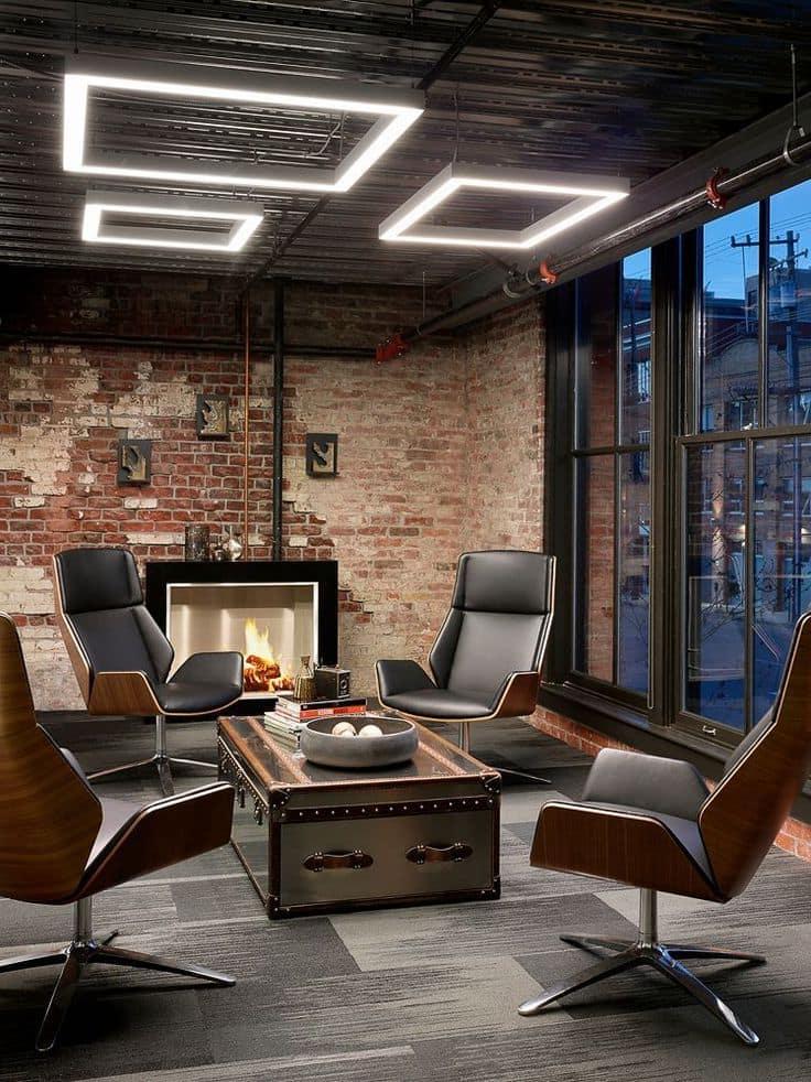 Стильный интерьер рабочего кабинета в стиле лофт