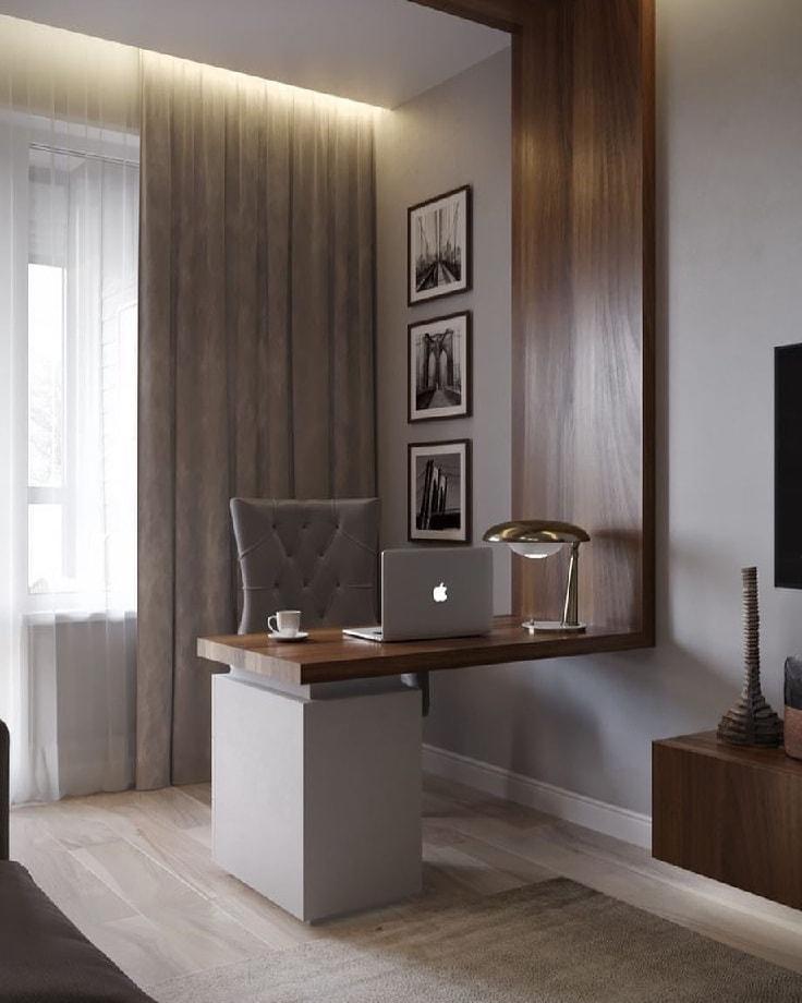 Интересное решение для оборудования мини кабинета в спальне