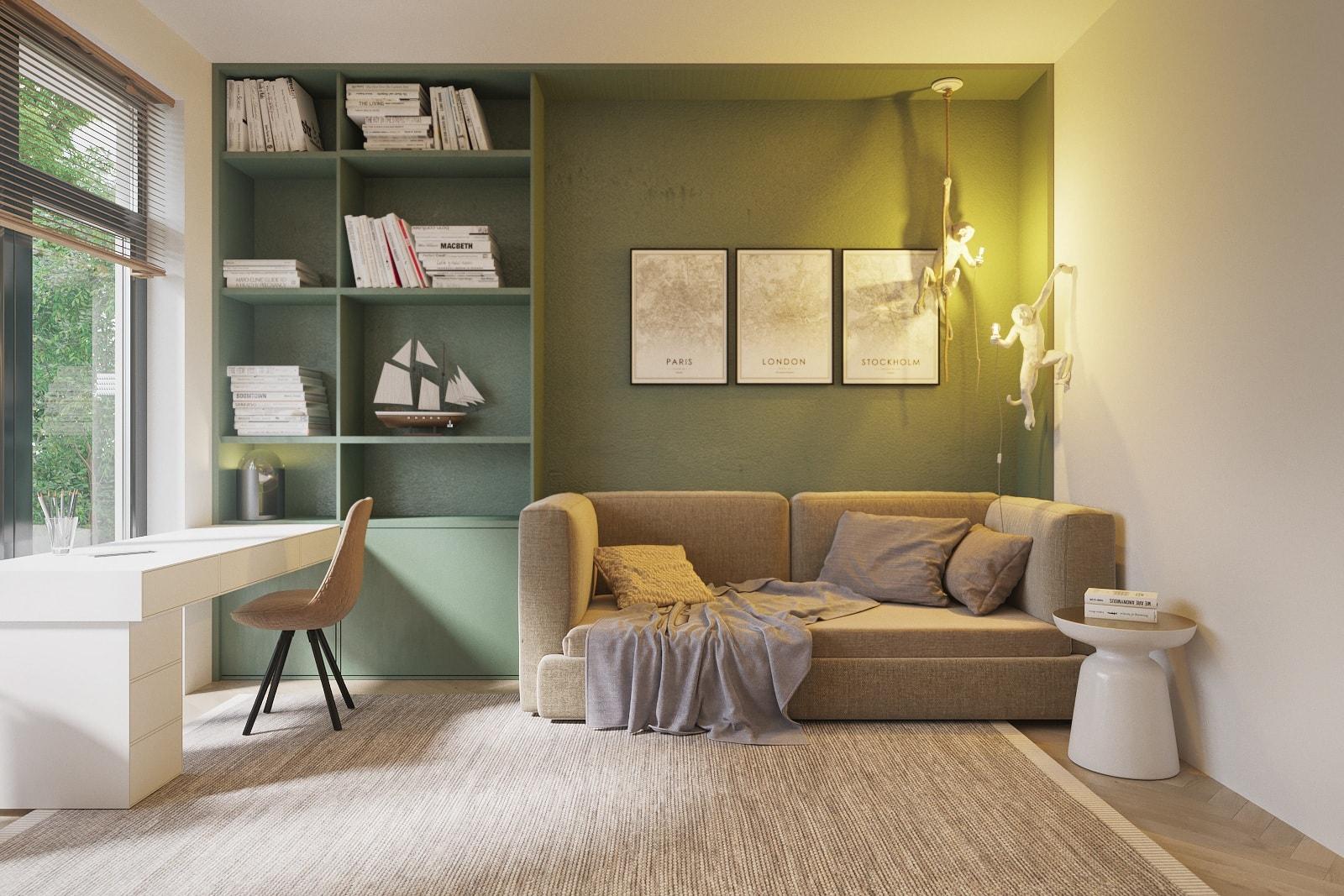 Расположение письменного стола вдоль окна является самым распространенным и удобным вариантом