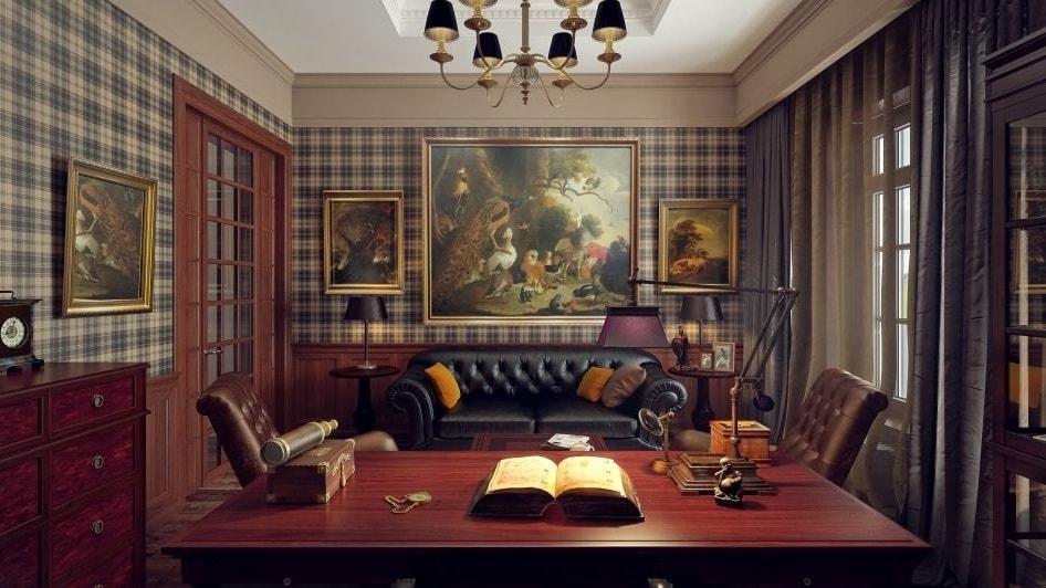 Классический вариант интерьера в английском стиле - это клетка и кожаный диван