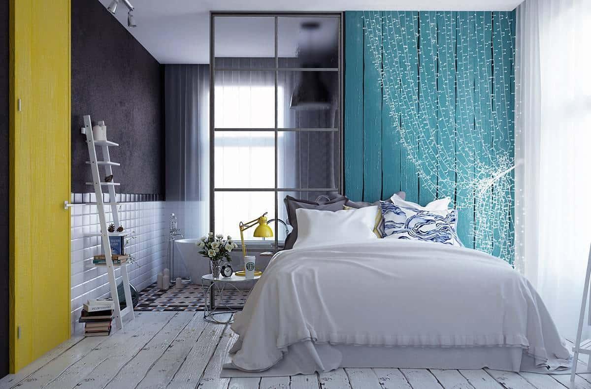 яркие оттенки в интерьере спальни