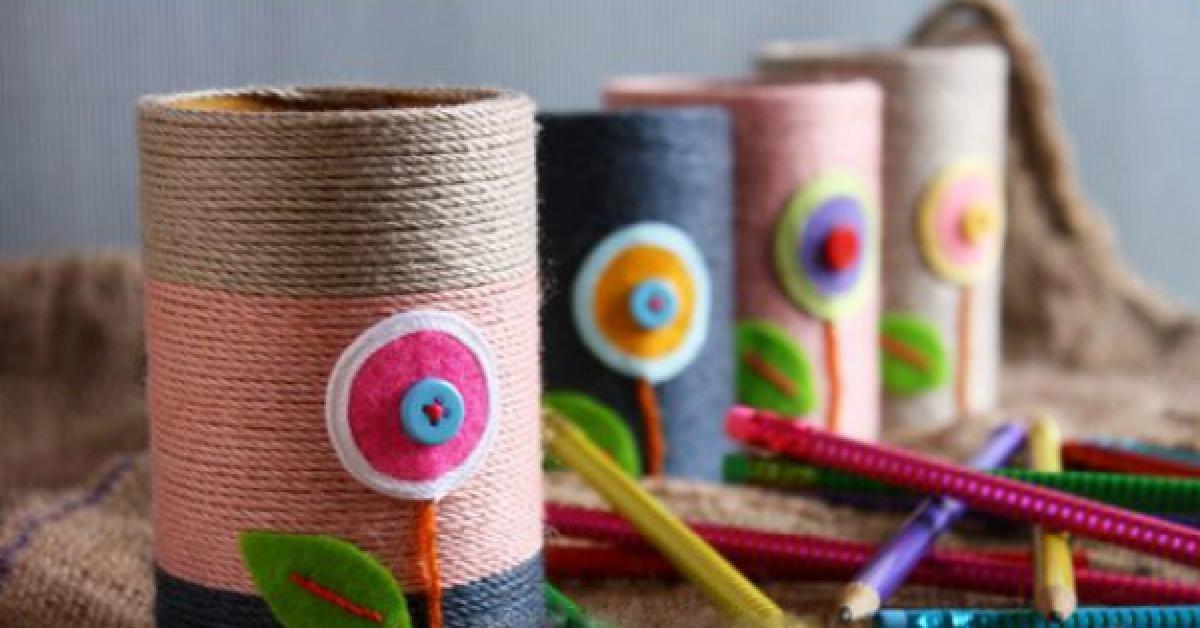 Яркие стаканчики для цветных карандашей зададут настрой творчеству