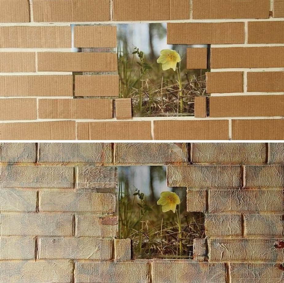 Необычное применение картона в качестве декоративного украшения стены
