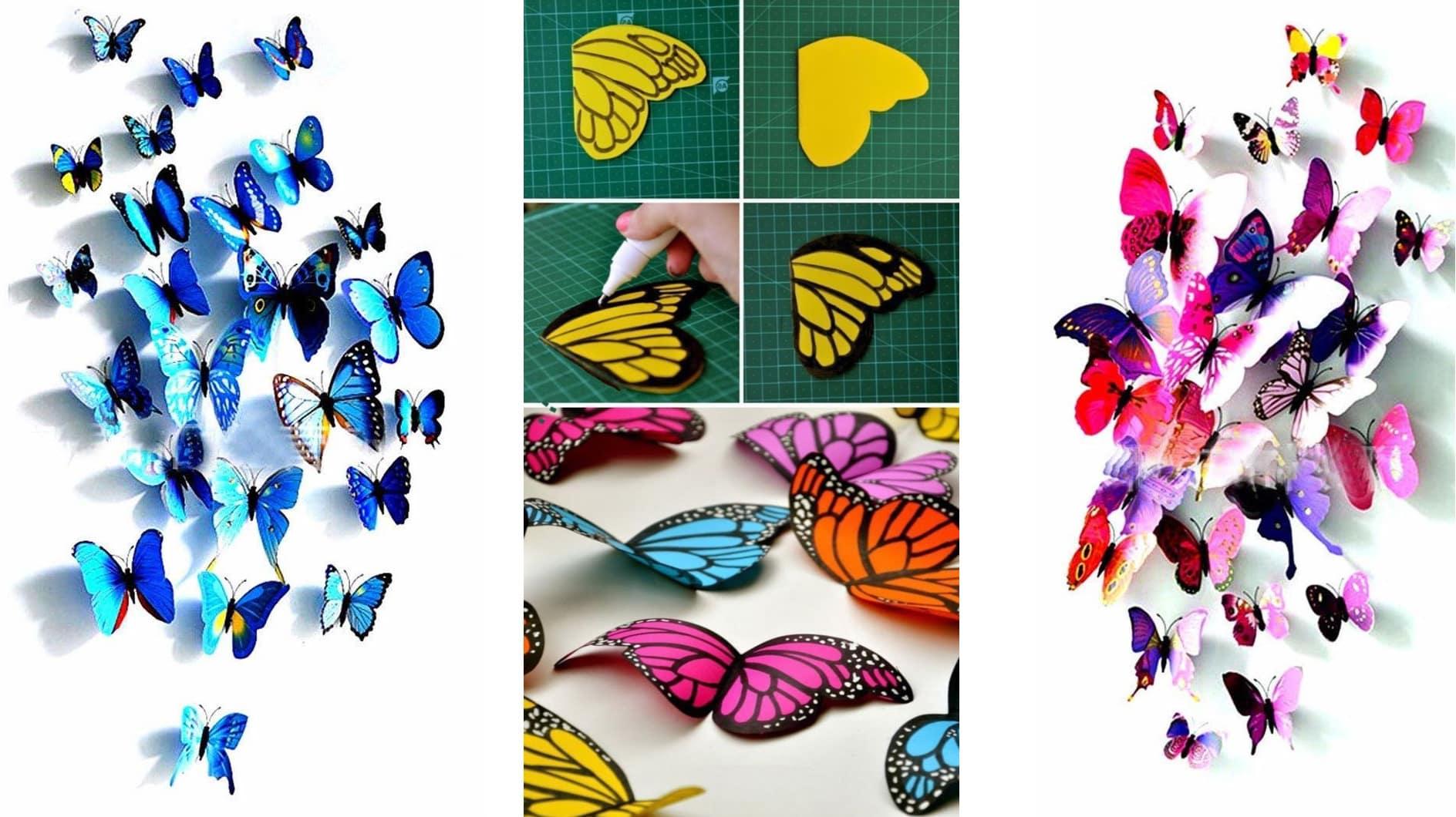 Объемную бабочку можно самостоятельно нарисовать и вырезать из цветной бумаги