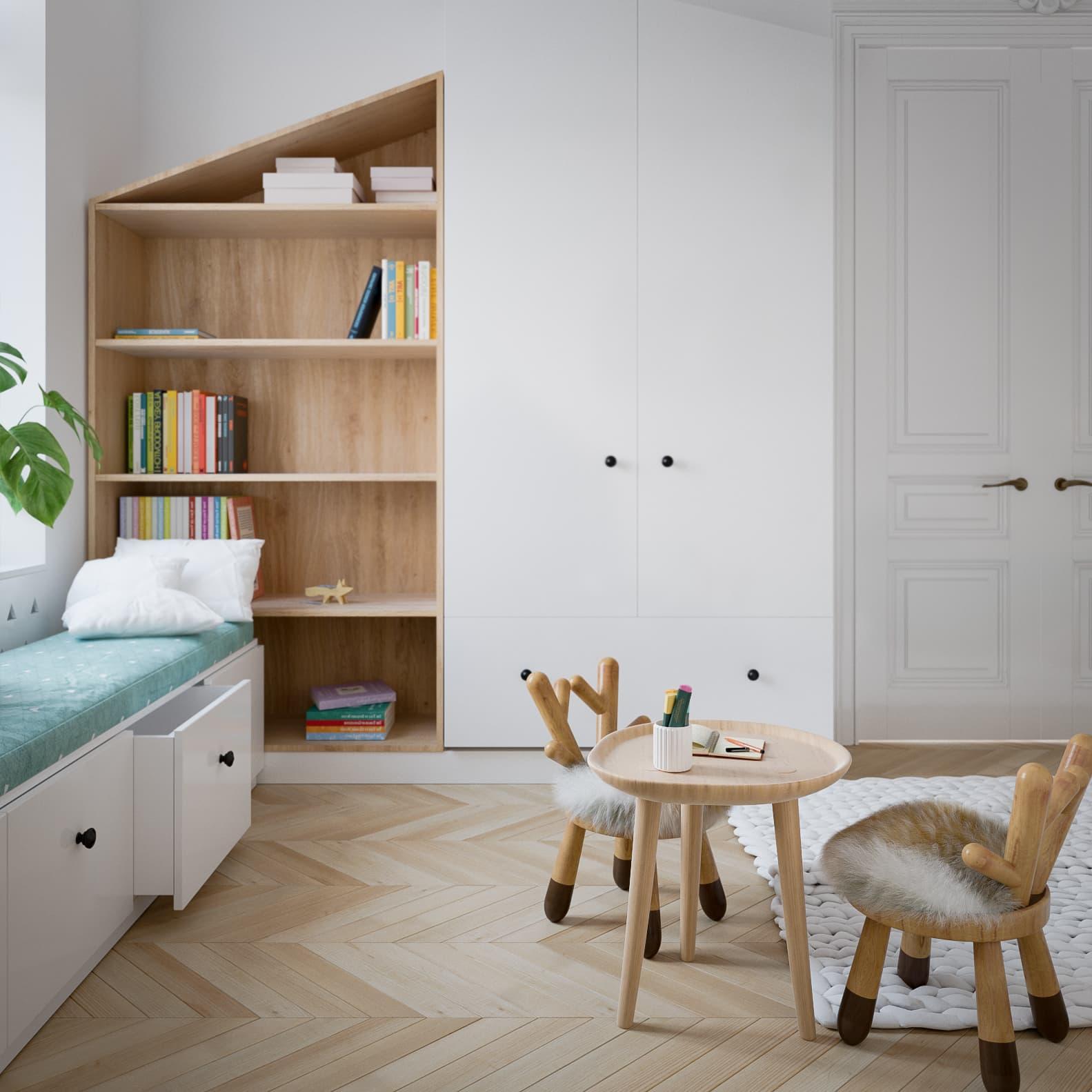 Детская комната с оригинальной мебелью ручной работы