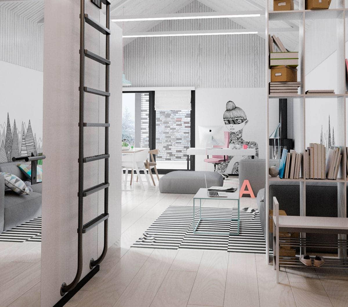 Красивый дизайн мансардной гостиной в которой преимущественно используется светлый цвет отделки
