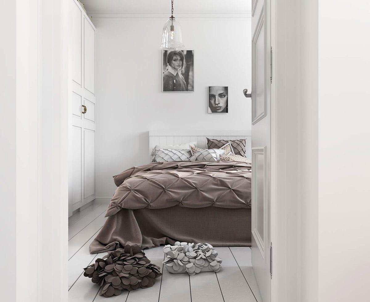Современная спальная комната в светлых оттенках
