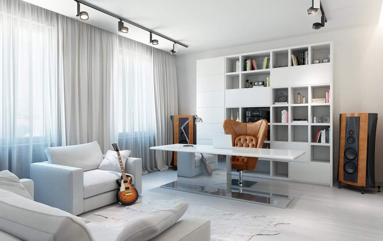 Четкие линии и правильные формы добавляют нужную строгость кабинету