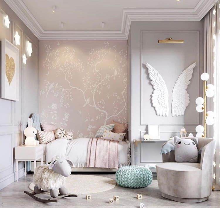 Серый цвет стен очень популярен в разработке дизайна детских комнат