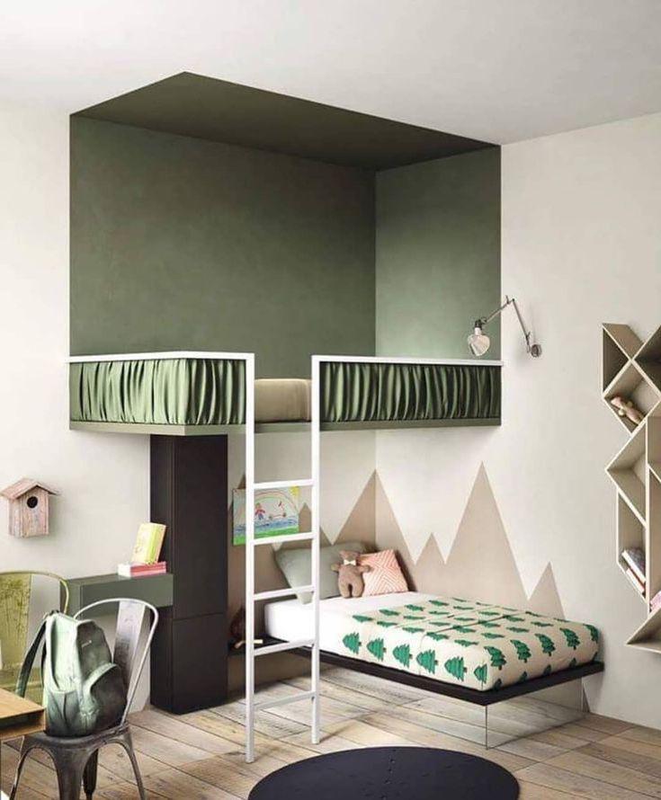 Оригинальное решение оформления детской с удобными зонами для сна
