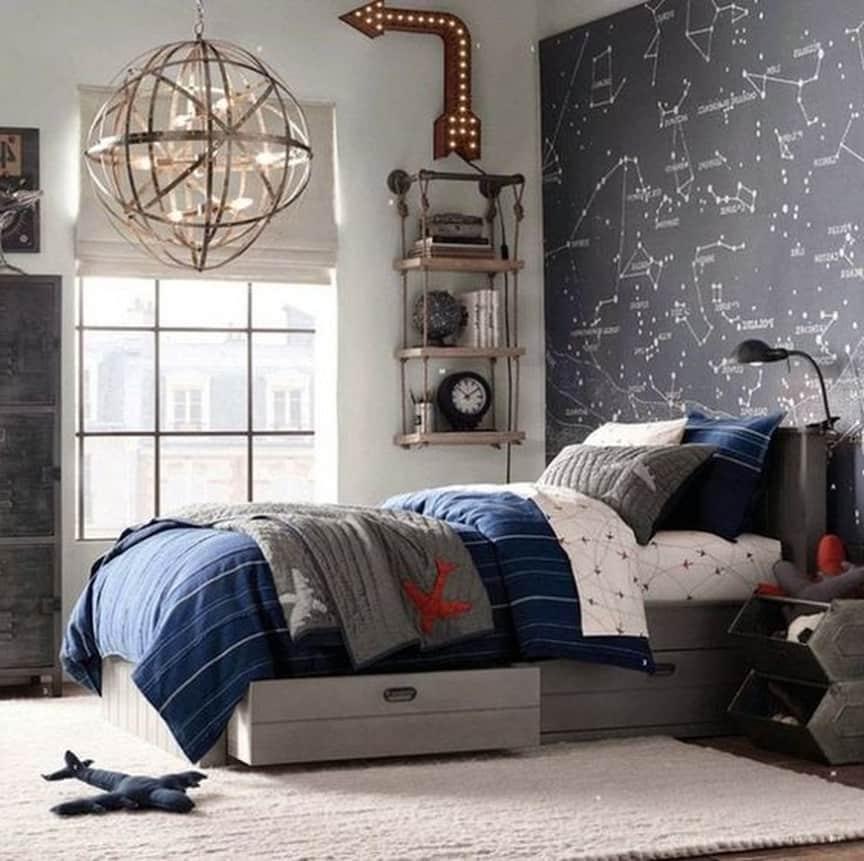 Спокойная цветовая палитра в интерьере комнаты для мальчика
