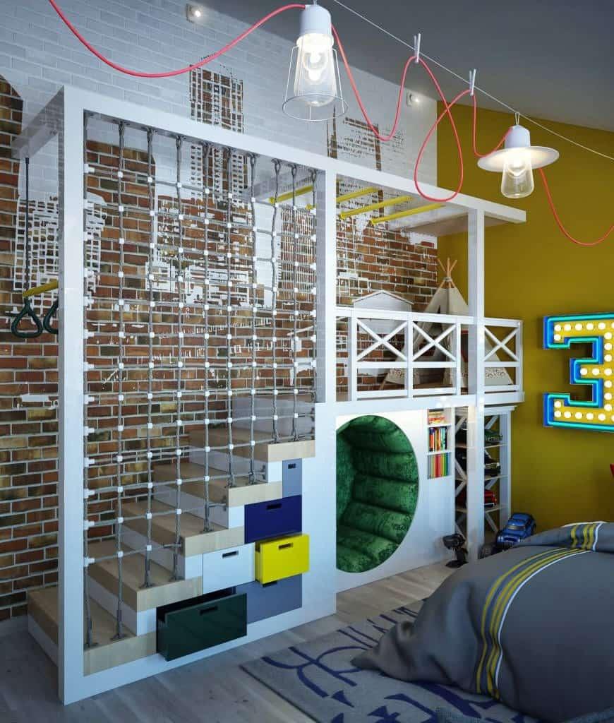 Оригинальное решение оформления детской игровой комнаты