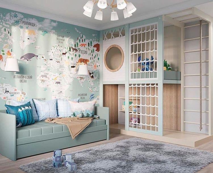 Карта на стене - интересный способ украшения детской комнаты мальчика