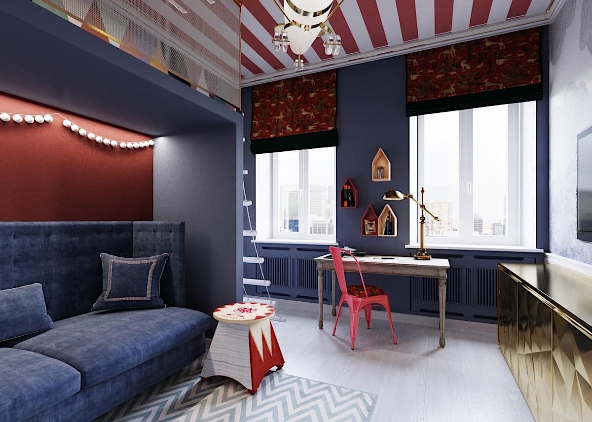 Удачное сочетание синего, белого и красного цвета в интерьере детской комнаты