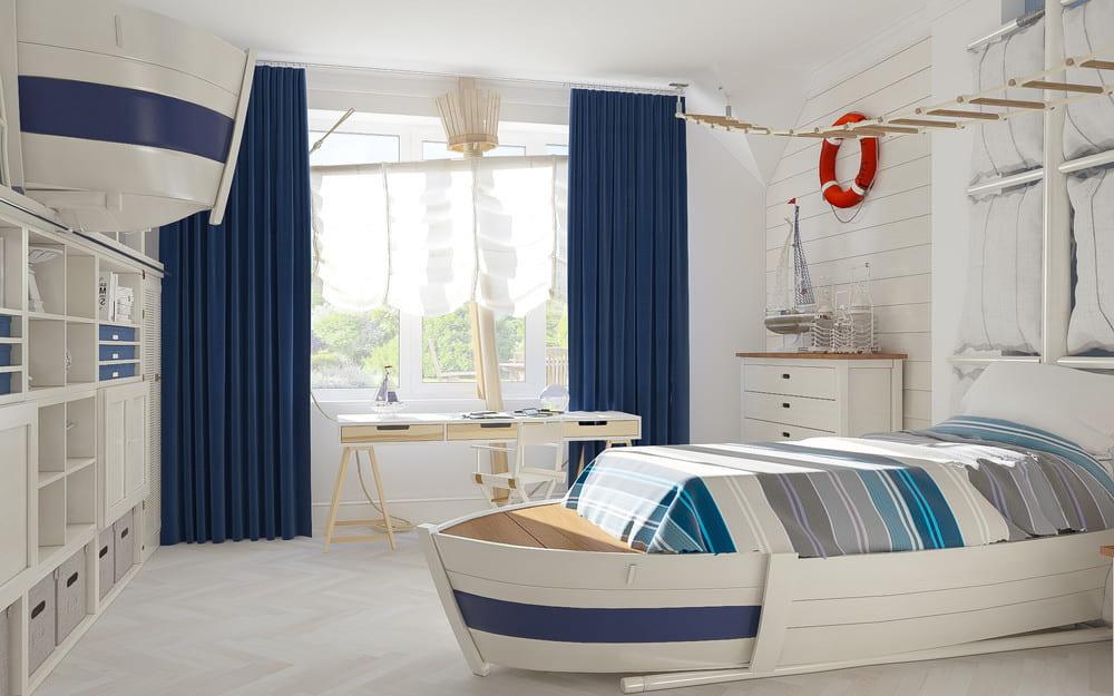 Удивительная по красоте комната мальчика-подростка в морском стиле