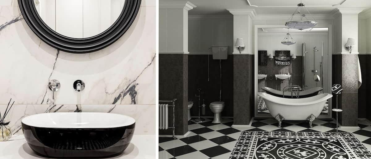 Классический дизайн ванной в черно-белых тонах
