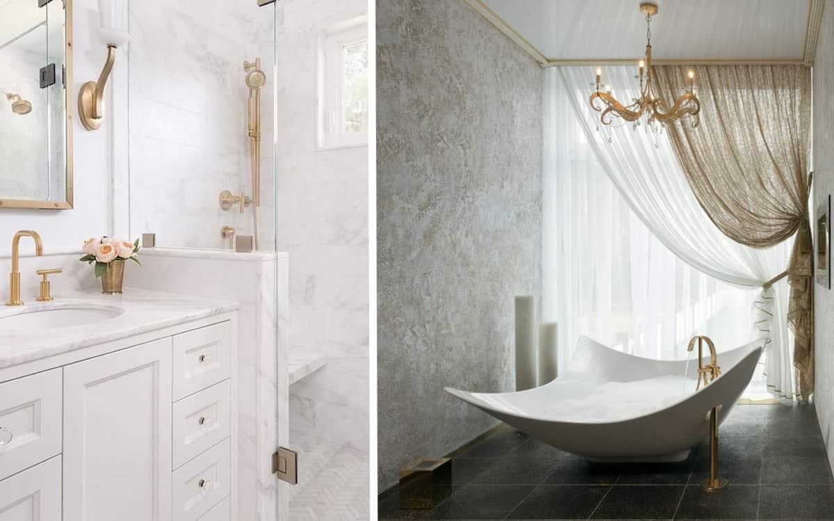 Позолоченные элементы в современном интерьере ванной добавляют ощущение роскоши и комфорта