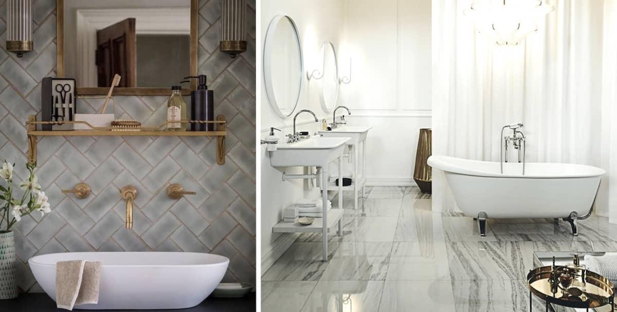 Глянцевый пол отлично сочетается с матовым кафелем на стенах в ванной