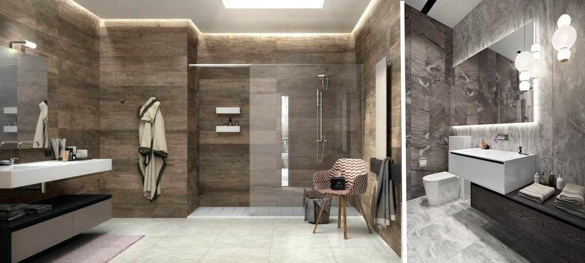 Красивая ванна в коричневом и сером цвете