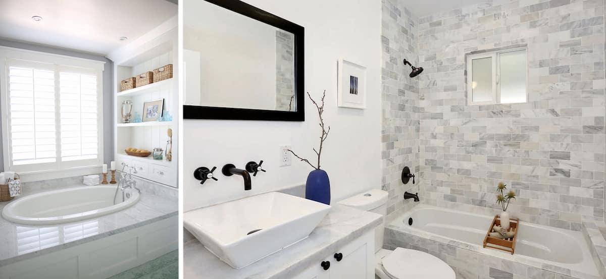 Необычный вариант реализации интерьера ванной комнаты с окном