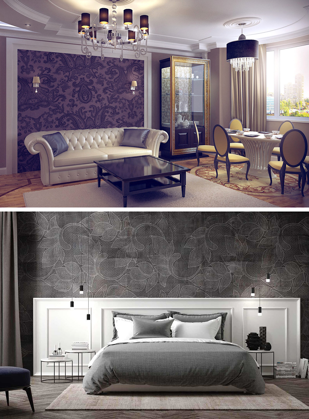 Обои в неоклассическом стиле кардинально изменят характер помещения, не перегружая при этом интерьер лишними деталями