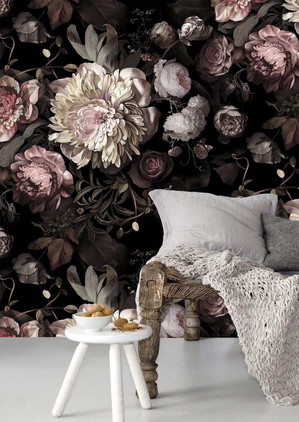 Фотообои с цветами излюбленный прием в оформлении спального интерьера
