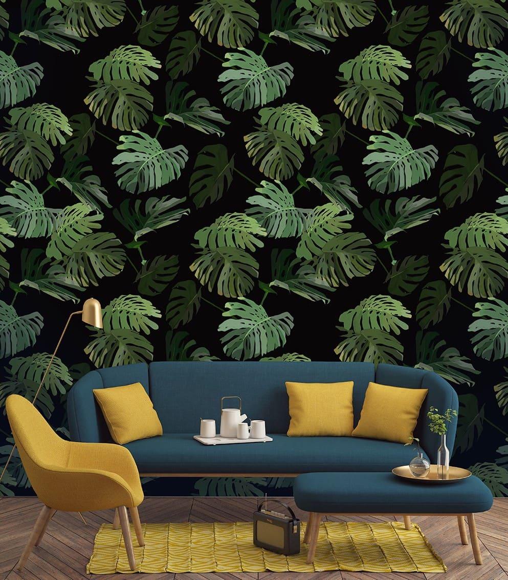 Оригинальное оформление стены в природных мотивах