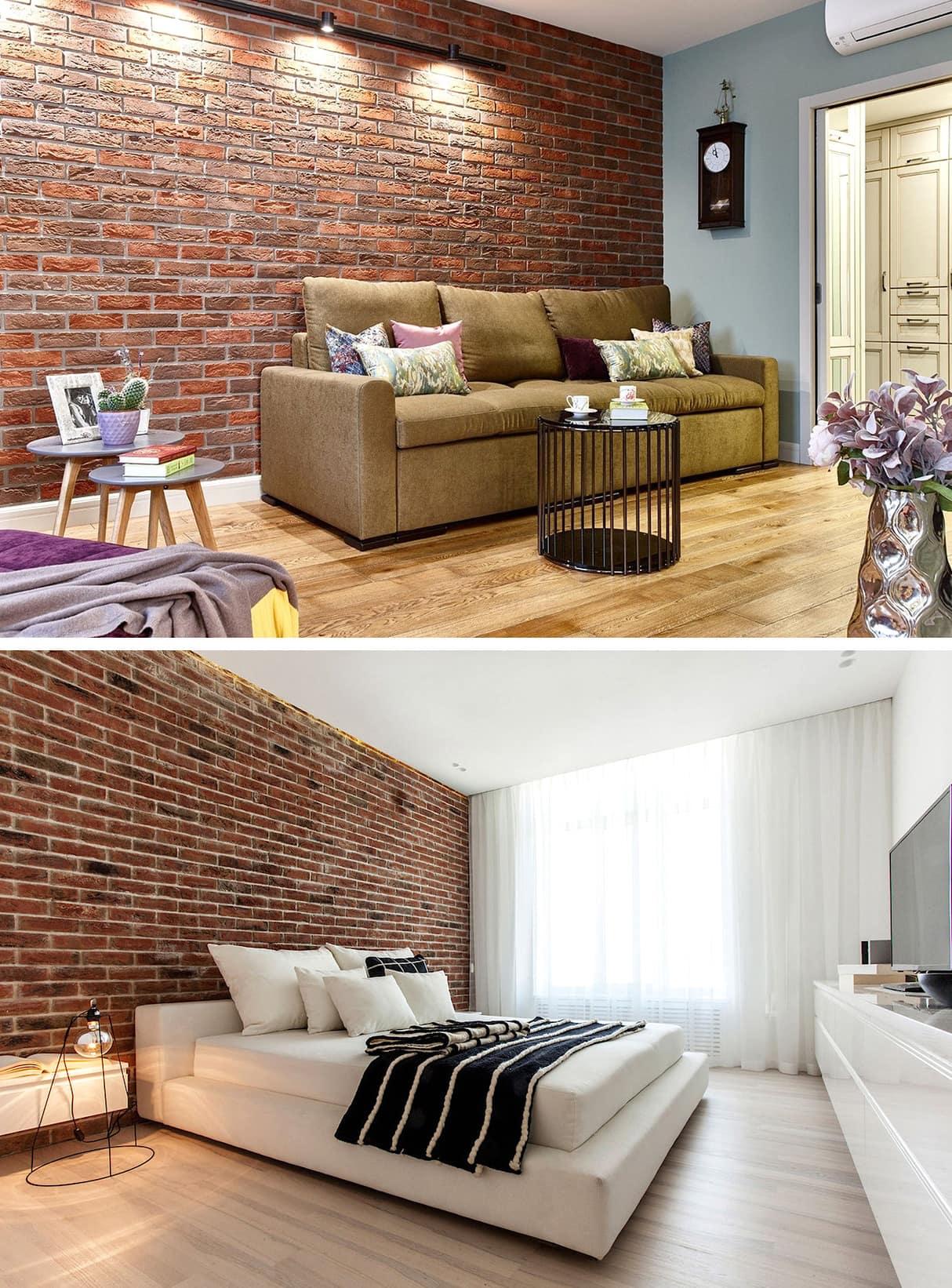 Обои под кирпичную кладку в стиле лофт подчеркнет эксклюзивность мебельного гарнитура