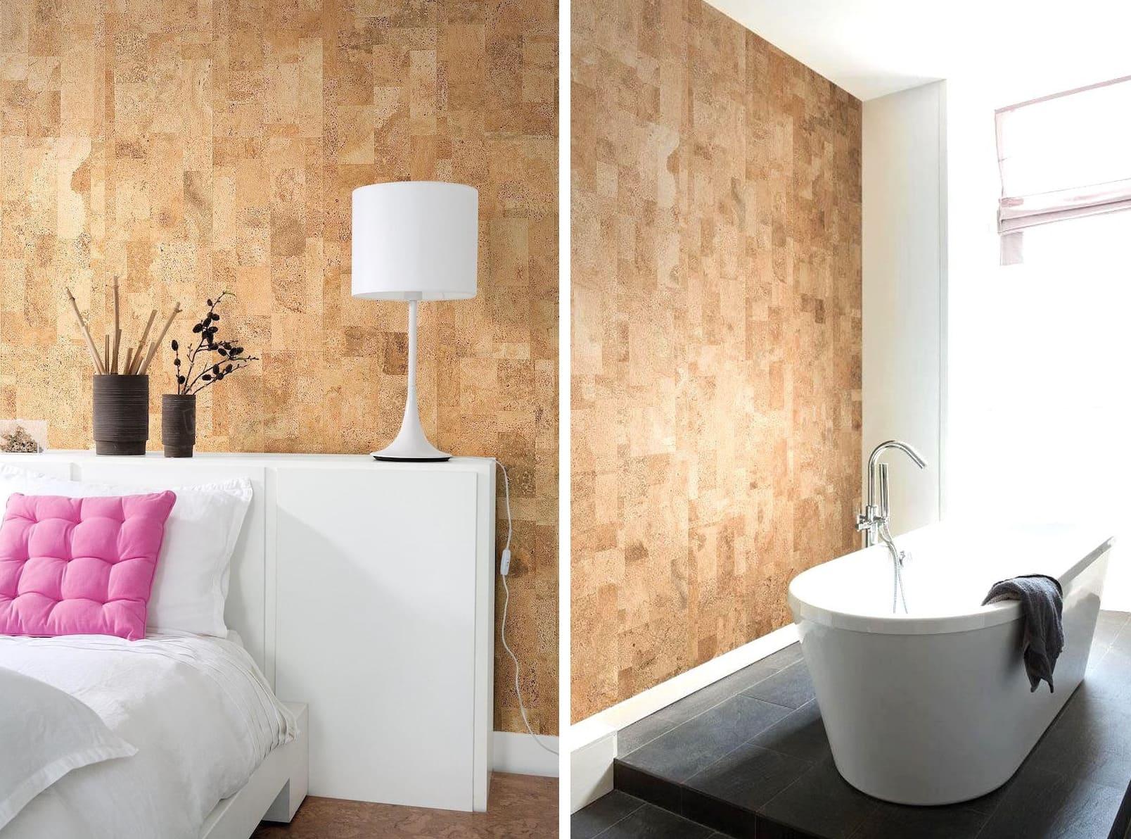 Современные пробковые обои модно украсят стены как жилой, так и нежилой комнаты