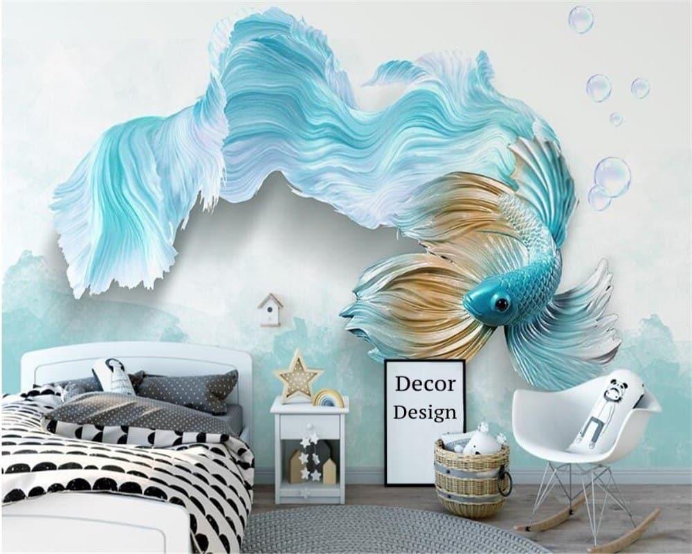 Красивые 3-Д обои с изображением рыбки