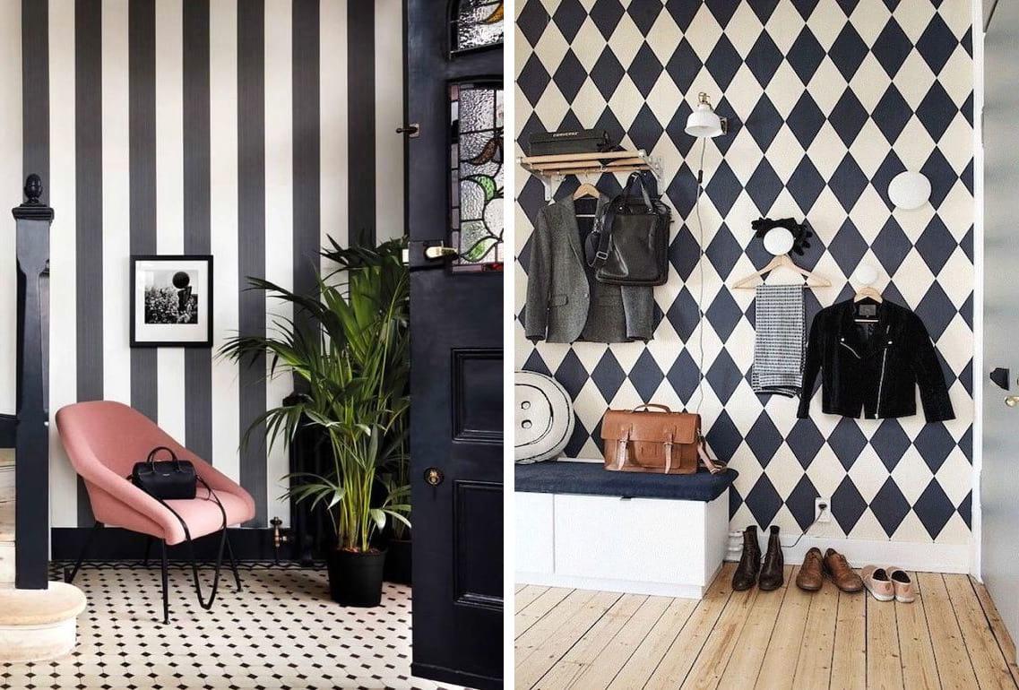 Классический дизайн обоев в черно-белую полоску и ромб