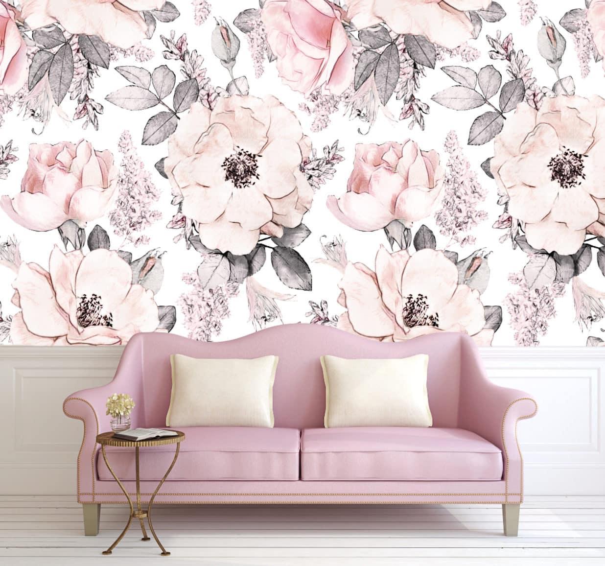 Оригинальные обои в нежно-розовой цветовой гамме
