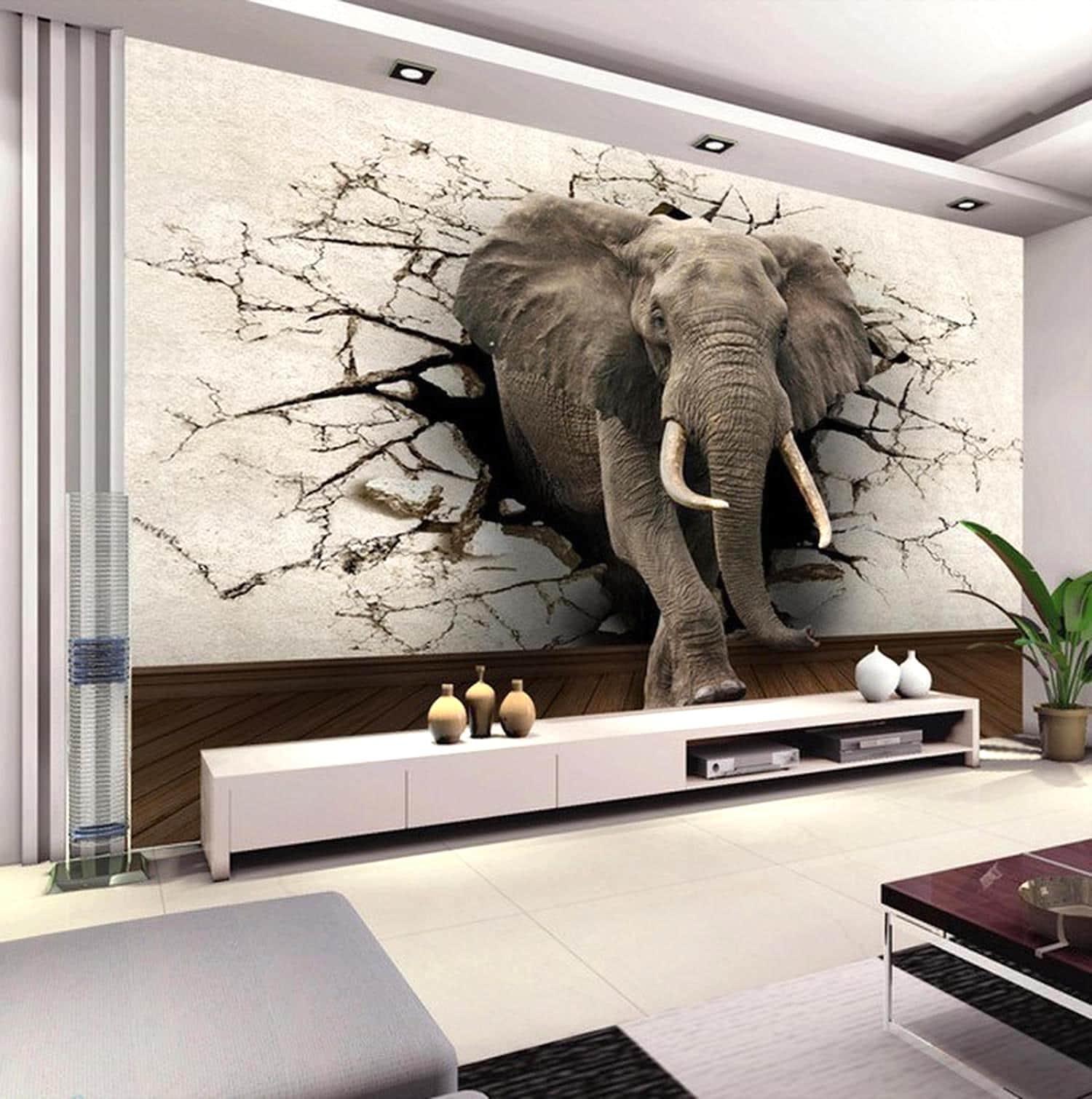 Объемные 3D фотообои со слоном