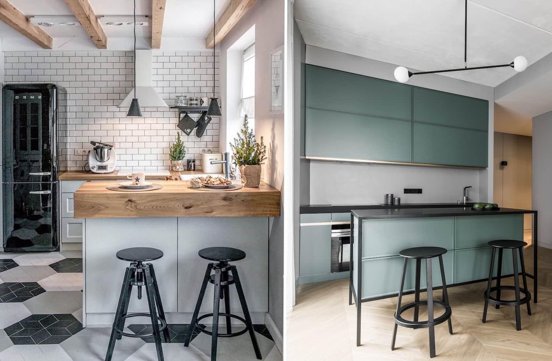 Объединение рабочей и столовой зоны на кухне