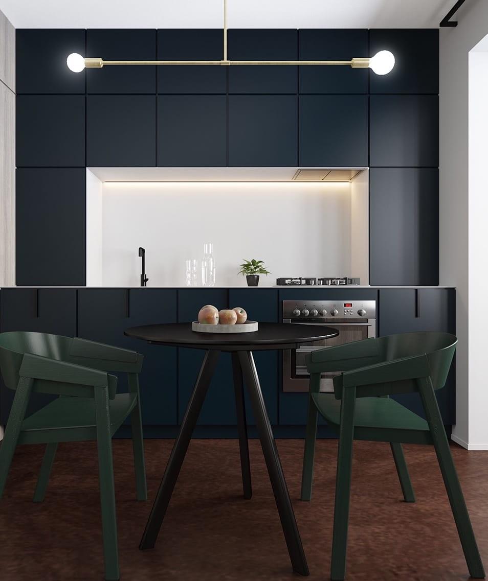 Гармоничное сочетание темной мебели на светлом фоне стен