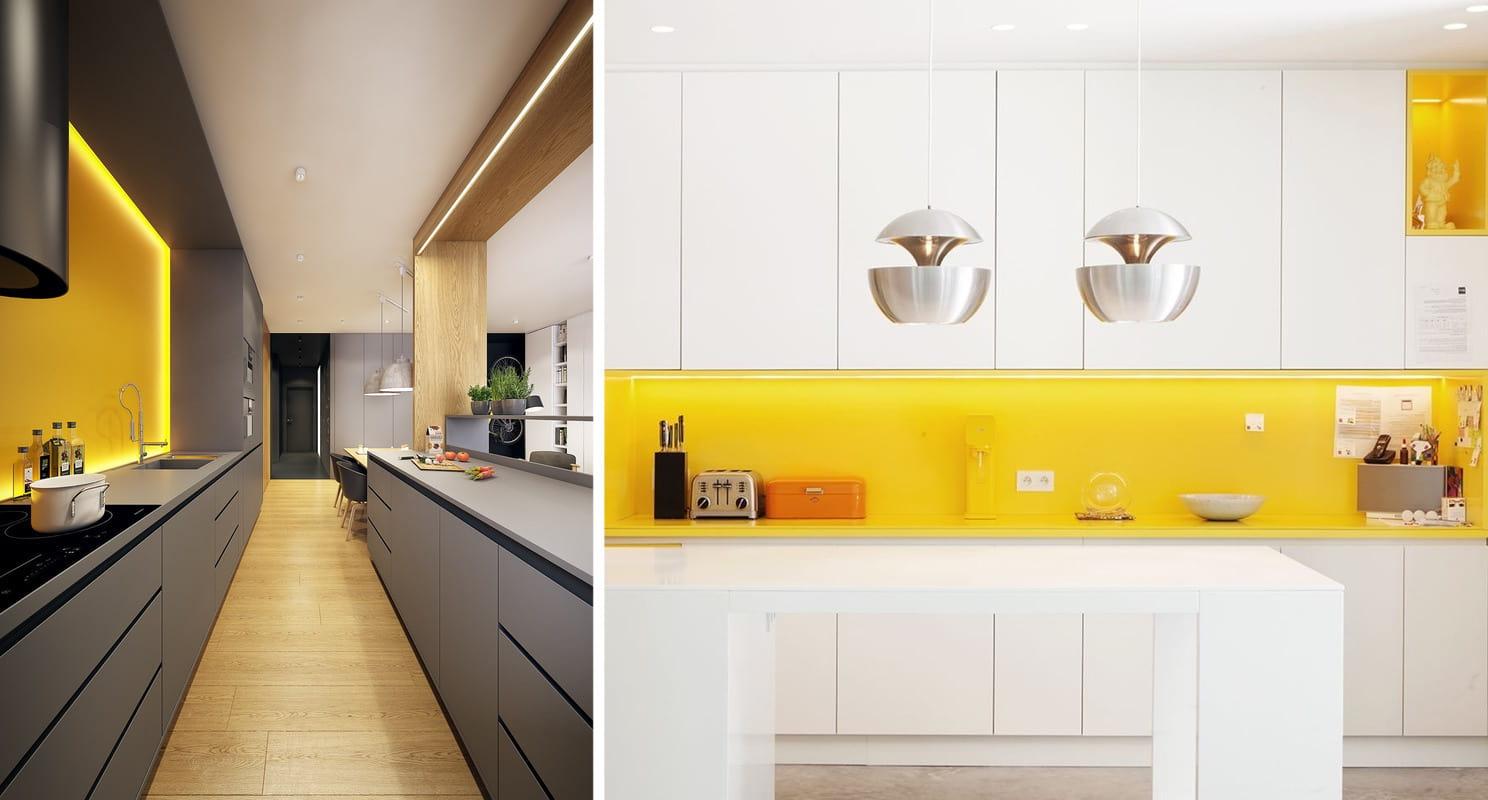 Желтый цвет в интерьере кухни добавит в обстановку неформальности и солнечного настроения