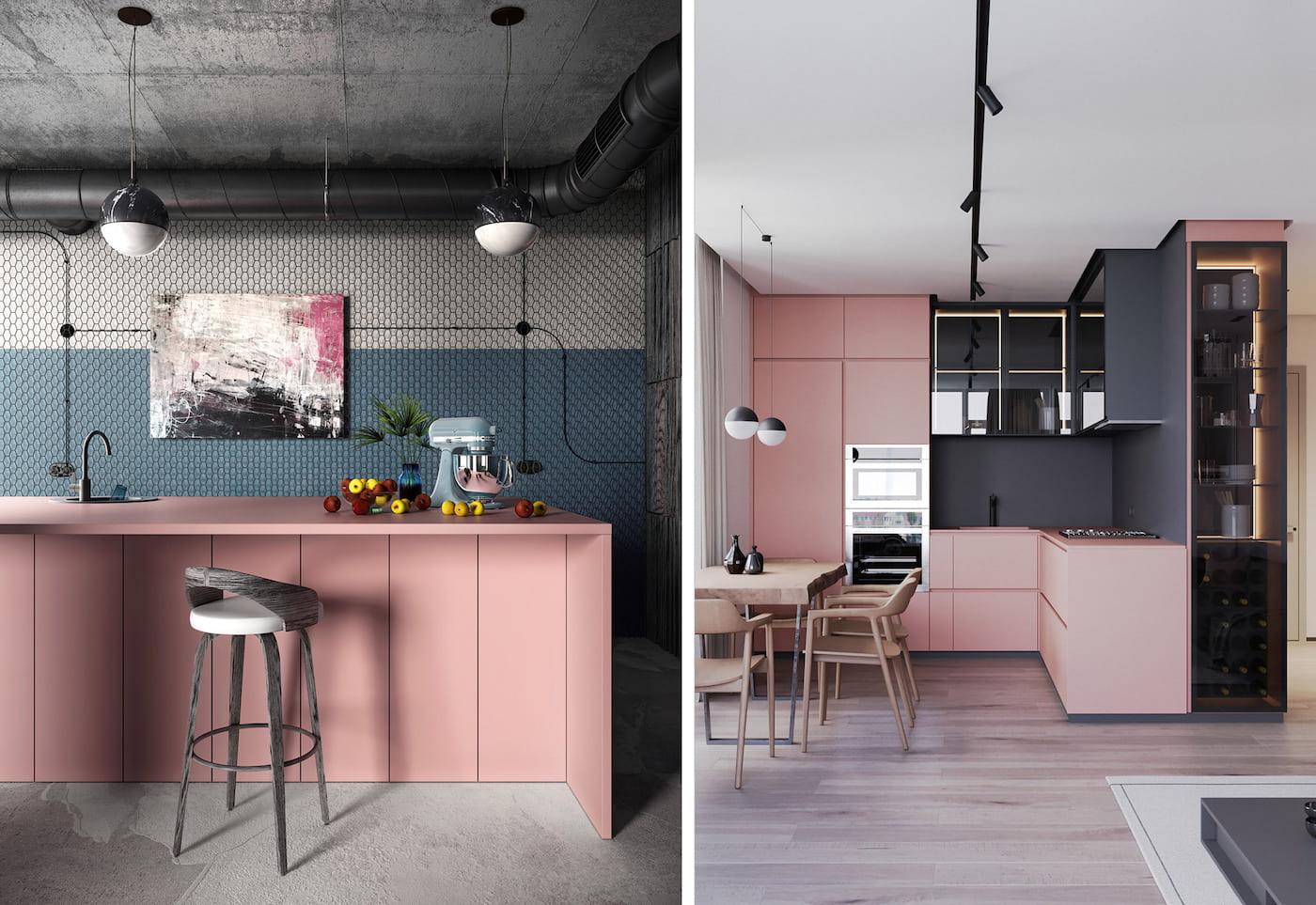 Модно и стильно смотрится пудровый оттенок кухни