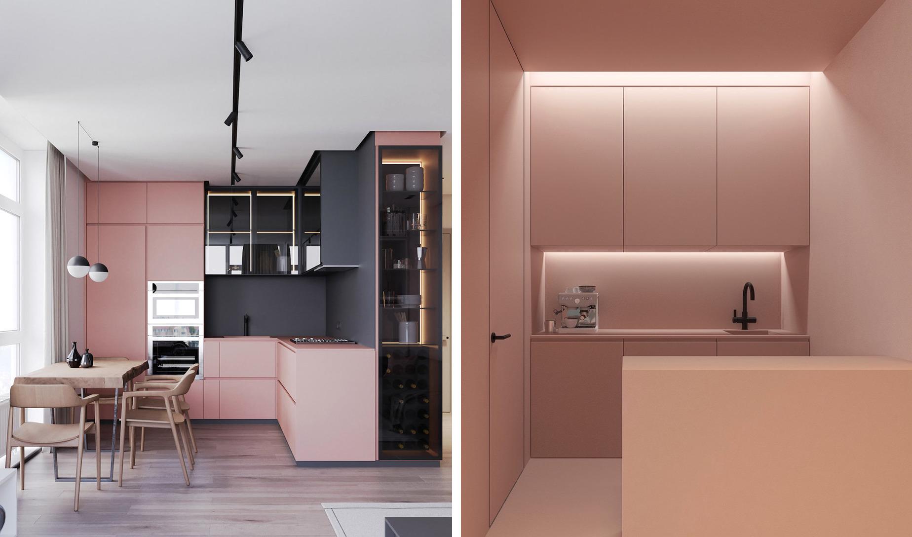 Красивая маленькая кухня в нежно-розовом цвете