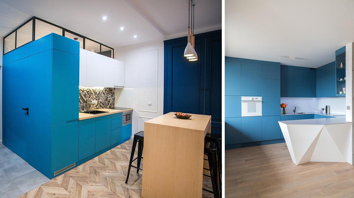 Интересное сочетание голубого цвета в различных стилях интерьера маленькой кухни