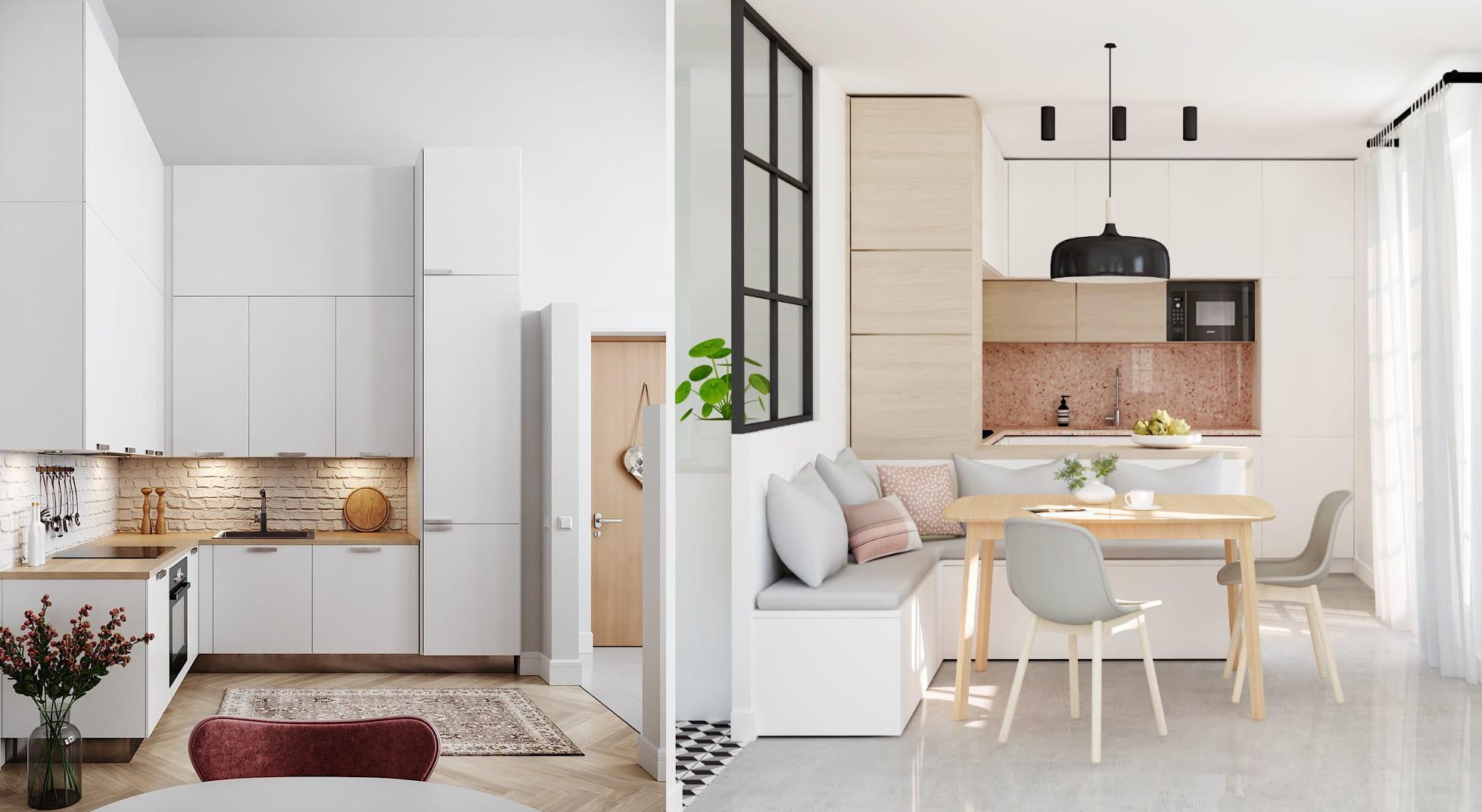Роскошный интерьер маленькой кухни в белоснежном исполнении