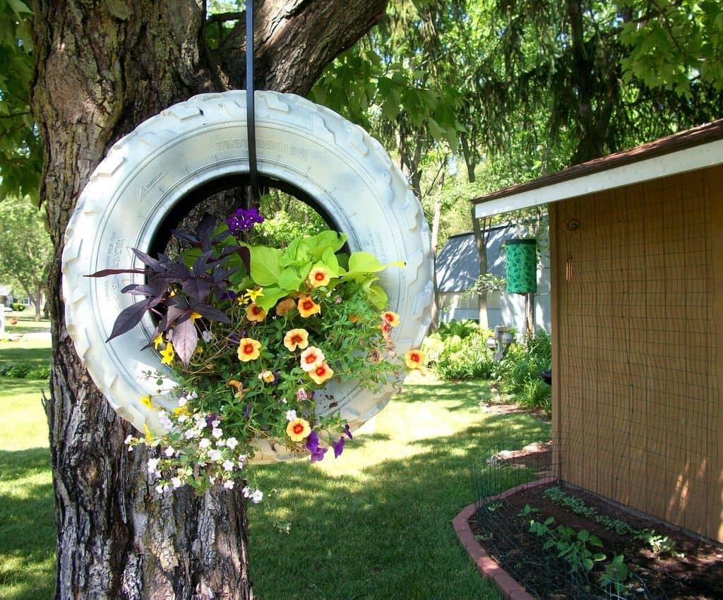 Подвязав автомобильную покрышку к дереву вы получите стильный круглый вазон для цветов